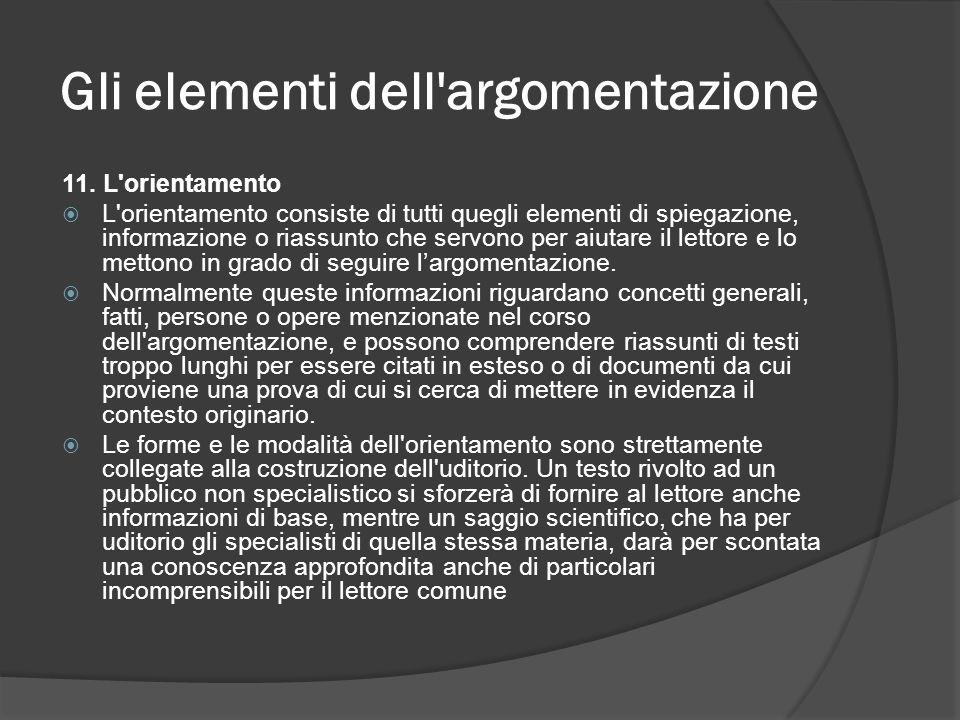 Gli elementi dell'argomentazione 11. L'orientamento L'orientamento consiste di tutti quegli elementi di spiegazione, informazione o riassunto che serv
