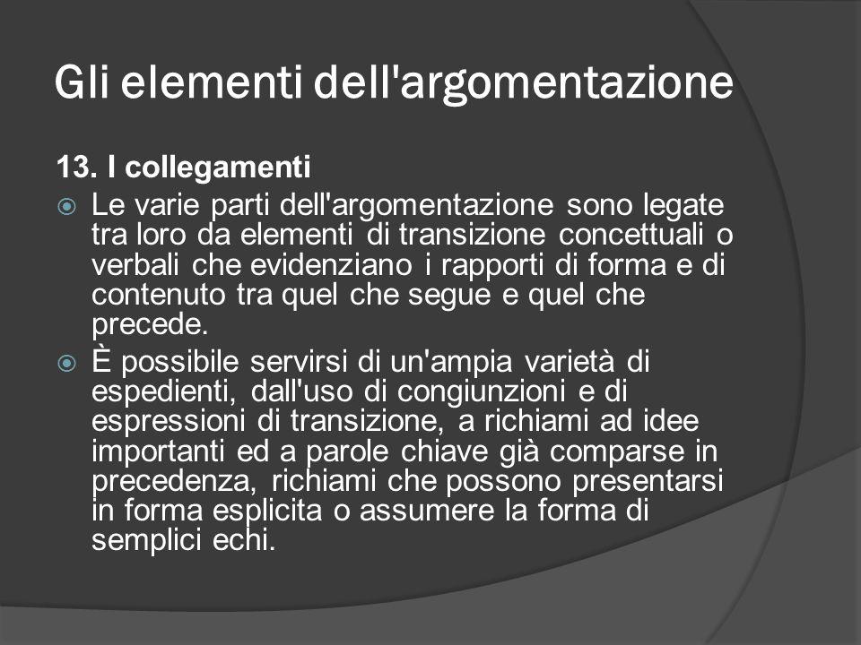 Gli elementi dell'argomentazione 13. I collegamenti Le varie parti dell'argomentazione sono legate tra loro da elementi di transizione concettuali o v