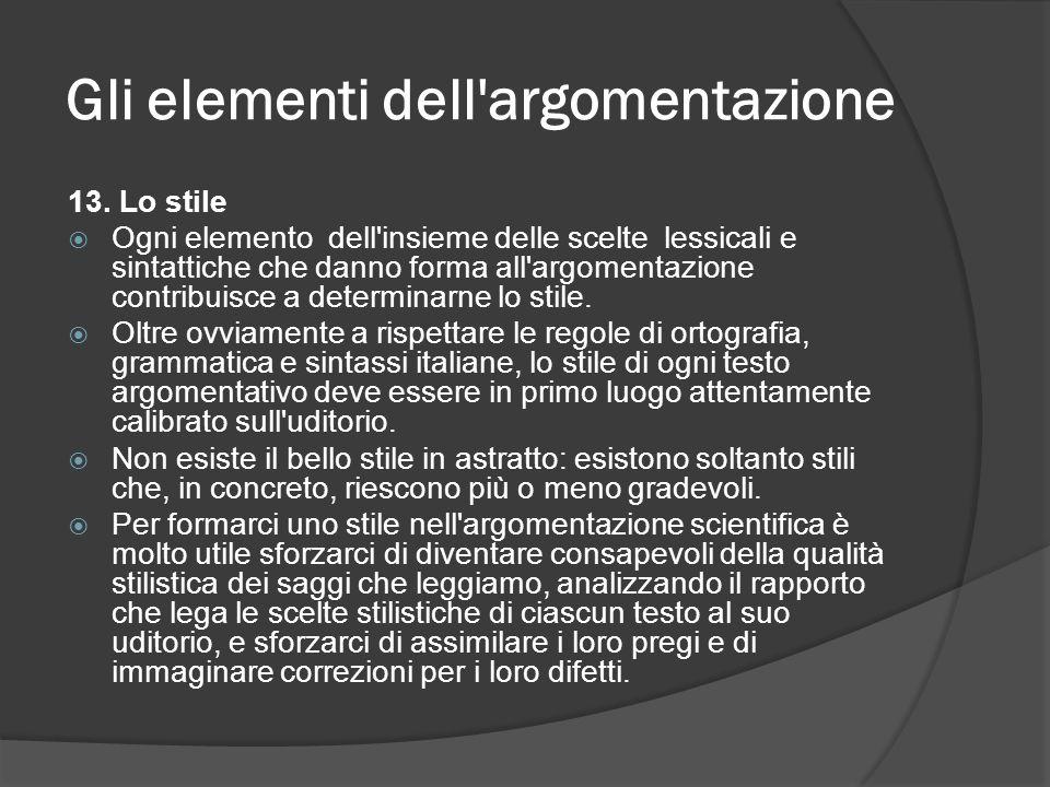 Gli elementi dell'argomentazione 13. Lo stile Ogni elemento dell'insieme delle scelte lessicali e sintattiche che danno forma all'argomentazione contr