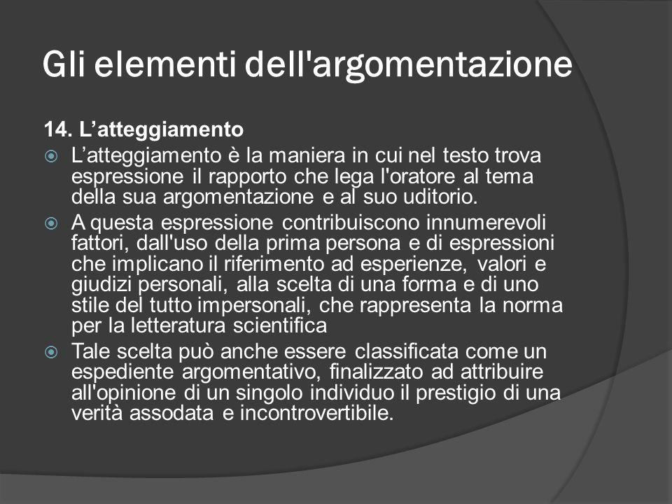 Gli elementi dell'argomentazione 14. Latteggiamento Latteggiamento è la maniera in cui nel testo trova espressione il rapporto che lega l'oratore al t