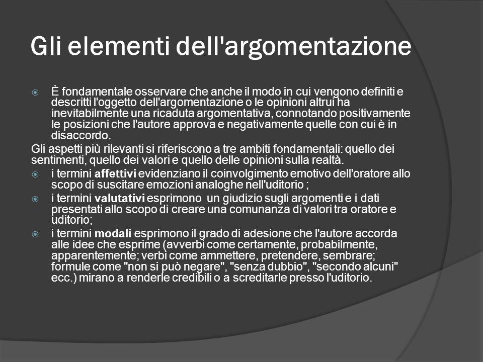Gli elementi dell'argomentazione È fondamentale osservare che anche il modo in cui vengono definiti e descritti l'oggetto dell'argomentazione o le opi