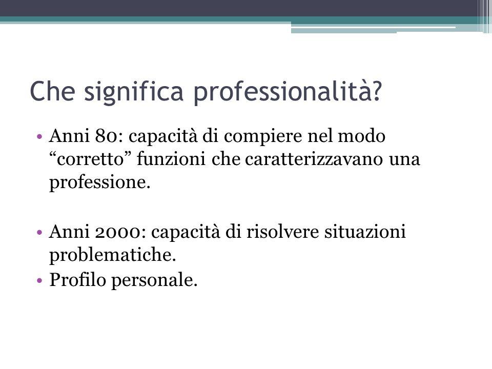 Che significa professionalità? Anni 80: capacità di compiere nel modo corretto funzioni che caratterizzavano una professione. Anni 2000: capacità di r