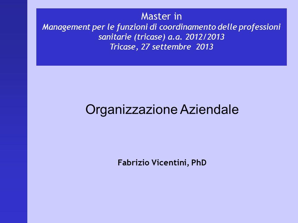 Master in Management per le funzioni di coordinamento delle professioni sanitarie (tricase) a.a. 2012/2013 Tricase, 27 settembre 2013 Organizzazione A
