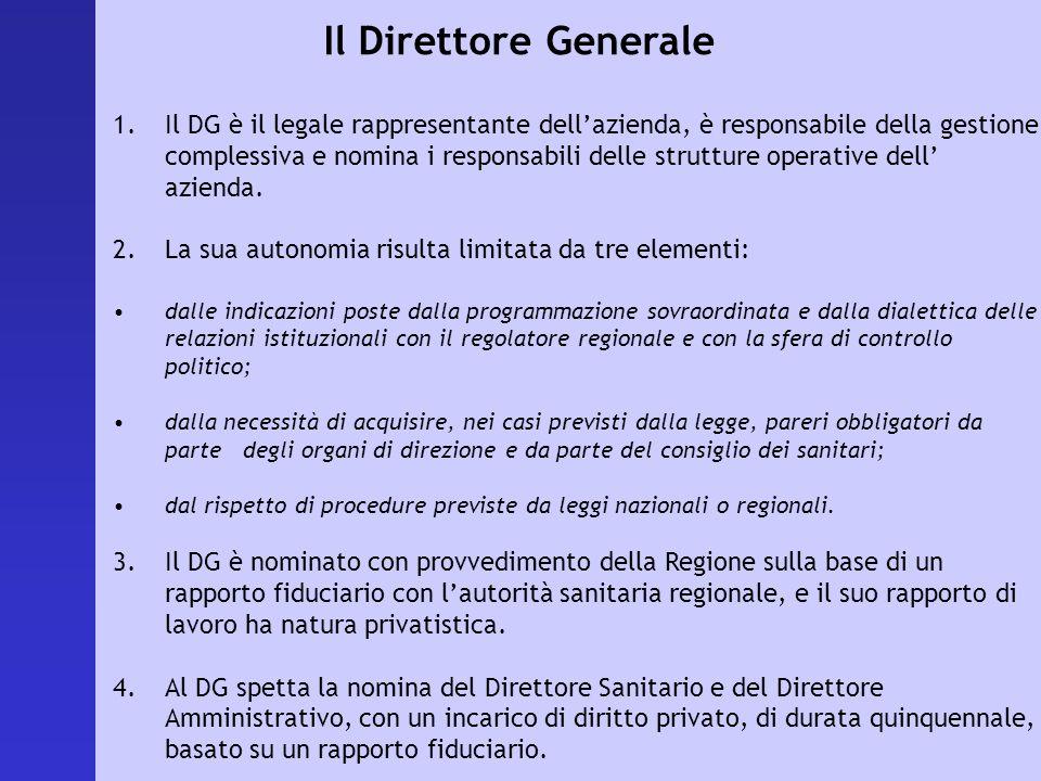 Il Direttore Generale 1.Il DG è il legale rappresentante dellazienda, è responsabile della gestione complessiva e nomina i responsabili delle struttur