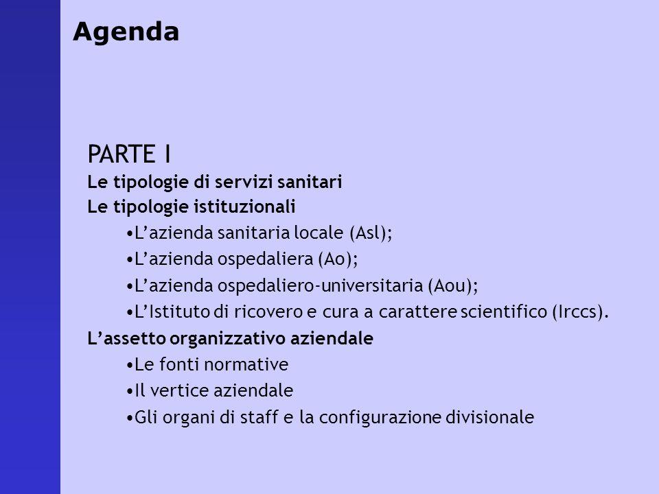 PARTE I Le tipologie di servizi sanitari Le tipologie istituzionali Lazienda sanitaria locale (Asl); Lazienda ospedaliera (Ao); Lazienda ospedaliero-u