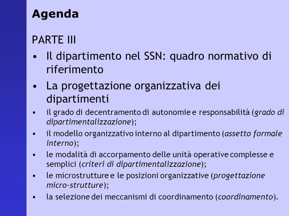 Agenda PARTE III Il dipartimento nel SSN: quadro normativo di riferimento La progettazione organizzativa dei dipartimenti il grado di decentramento di
