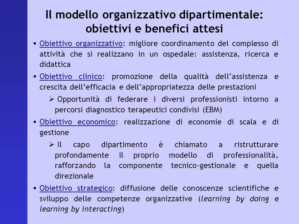 Il modello organizzativo dipartimentale: obiettivi e benefici attesi Obiettivo organizzativo: migliore coordinamento del complesso di attività che si