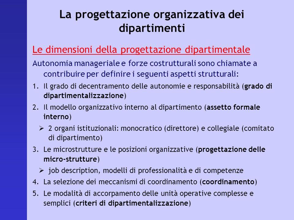 La progettazione organizzativa dei dipartimenti Le dimensioni della progettazione dipartimentale Autonomia manageriale e forze costrutturali sono chia