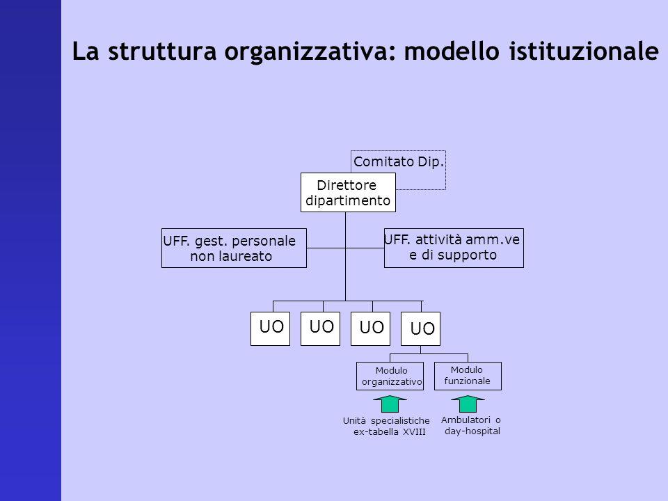 La struttura organizzativa: modello istituzionale Direttore dipartimento UFF. gest. personale non laureato UFF. attività amm.ve e di supporto Comitato
