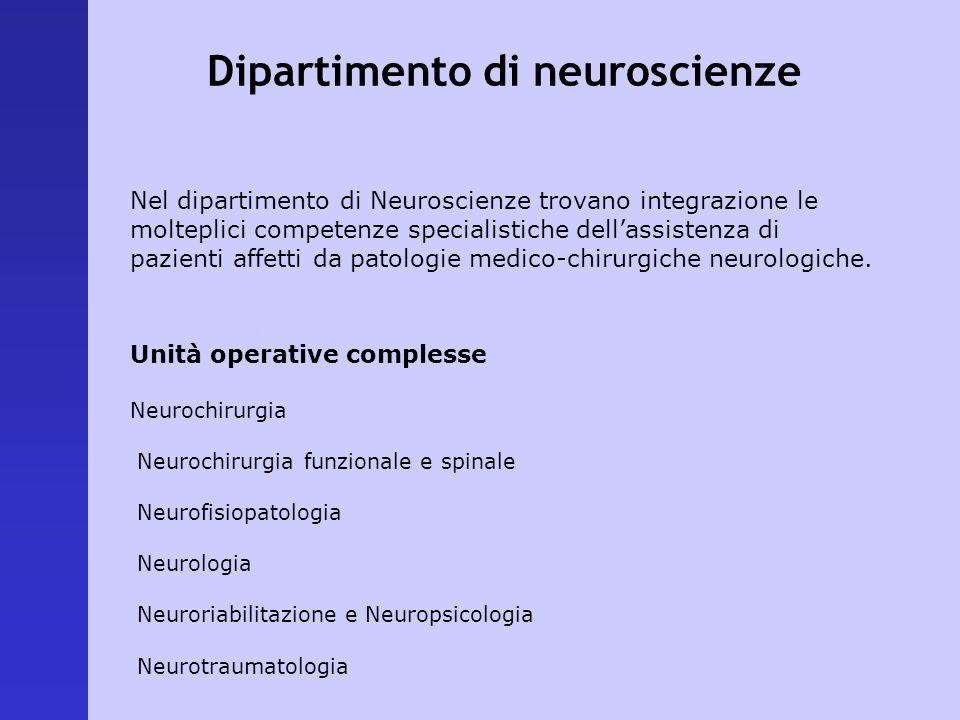 Nel dipartimento di Neuroscienze trovano integrazione le molteplici competenze specialistiche dellassistenza di pazienti affetti da patologie medico-c
