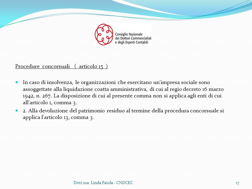 Procedure concorsuali ( articolo 15 ) In caso di insolvenza, le organizzazioni che esercitano un impresa sociale sono assoggettate alla liquidazione coatta amministrativa, di cui al regio decreto 16 marzo 1942, n.
