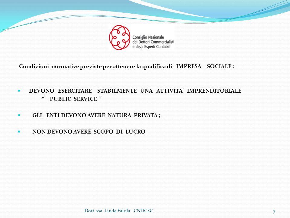 Condizioni normative previste per ottenere la qualifica di IMPRESA SOCIALE : DEVONO ESERCITARE STABILMENTE UNA ATTIVITA IMPRENDITORIALE PUBLIC SERVICE GLI ENTI DEVONO AVERE NATURA PRIVATA ; NON DEVONO AVERE SCOPO DI LUCRO 5Dott.ssa Linda Faiola - CNDCEC
