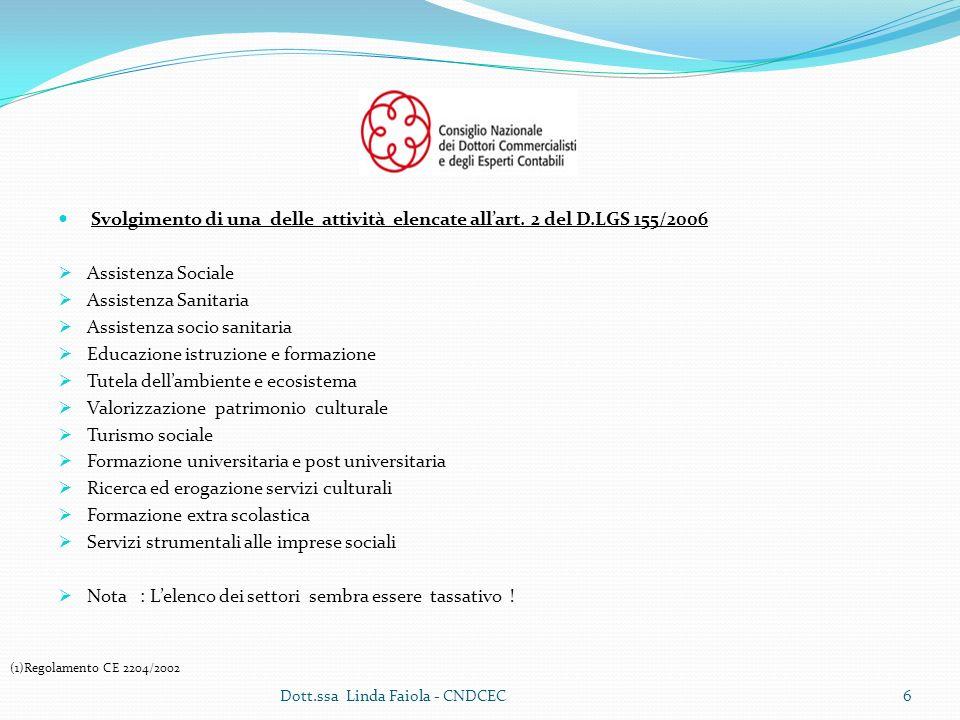 Bilancio sociale per lImpresa sociale Dott.ssa Linda Faiola - CNDCEC27