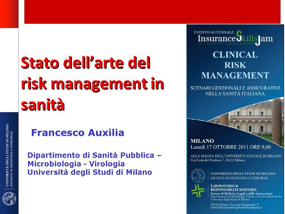 Stato dellarte del risk management in sanità Francesco Auxilia Dipartimento di Sanità Pubblica – Microbiologia - Virologia Università degli Studi di M