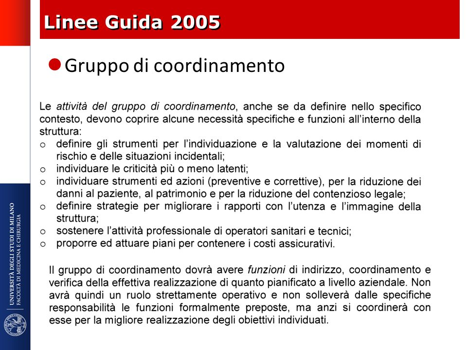 Linee Guida 2005 Gruppo di coordinamento