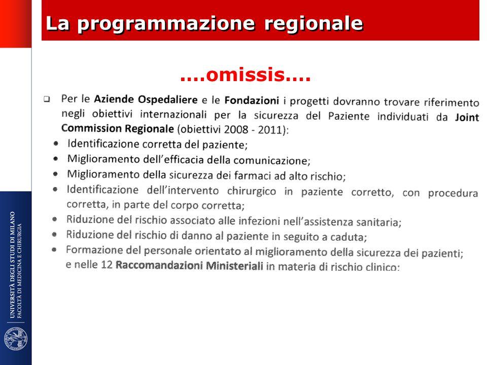 La programmazione regionale.…omissis….