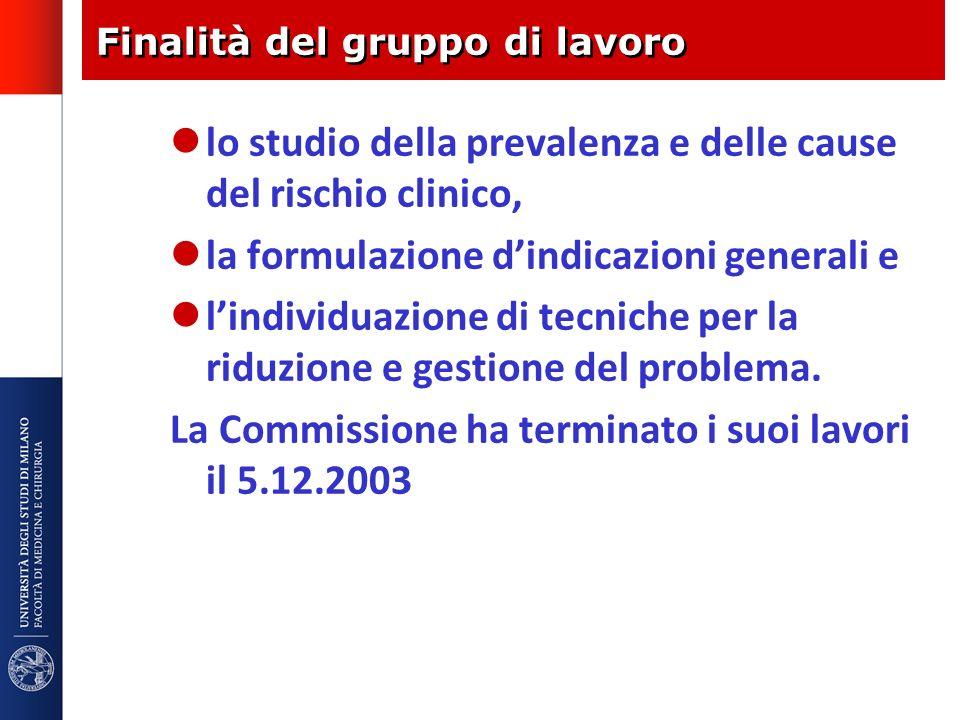Finalità del gruppo di lavoro lo studio della prevalenza e delle cause del rischio clinico, la formulazione dindicazioni generali e lindividuazione di