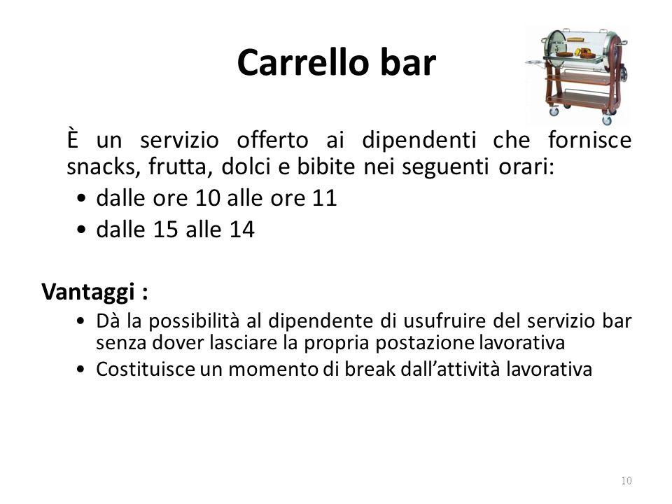 Carrello bar È un servizio offerto ai dipendenti che fornisce snacks, frutta, dolci e bibite nei seguenti orari: dalle ore 10 alle ore 11 dalle 15 all