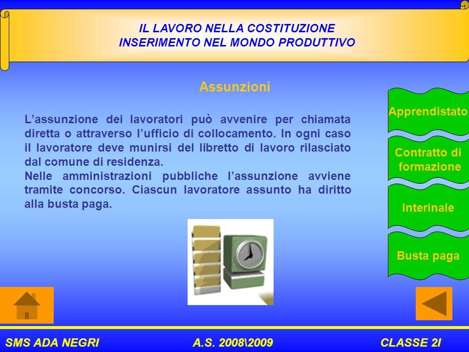 SMS ADA NEGRI A.S. 2008\2009 CLASSE 2I IL LAVORO NELLA COSTITUZIONE INSERIMENTO NEL MONDO PRODUTTIVO Assunzioni Apprendistato Contratto di formazione