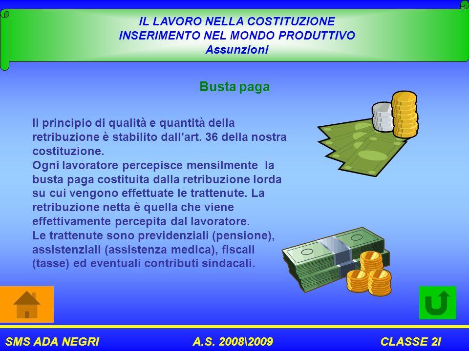 SMS ADA NEGRI A.S. 2008\2009 CLASSE 2I IL LAVORO NELLA COSTITUZIONE INSERIMENTO NEL MONDO PRODUTTIVO Assunzioni Busta paga Il principio di qualità e q
