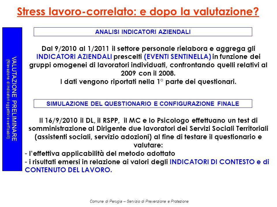 Comune di Perugia – Servizio di Prevenzione e Protezione VALUTAZIONE PRELIMINARE (Rilevazione di indicatori oggettivi e verificabili) Stress lavoro-correlato: e dopo la valutazione.