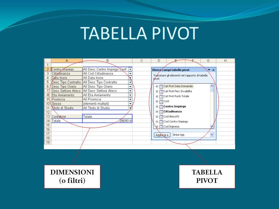TABELLA PIVOT DIMENSIONI (o filtri) TABELLA PIVOT