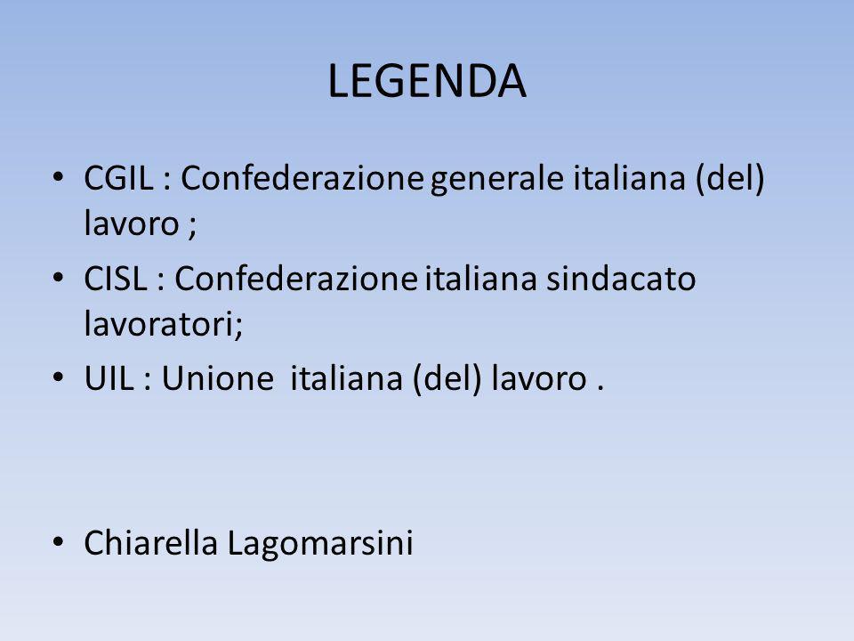LEGENDA CGIL : Confederazione generale italiana (del) lavoro ; CISL : Confederazione italiana sindacato lavoratori; UIL : Unione italiana (del) lavoro.