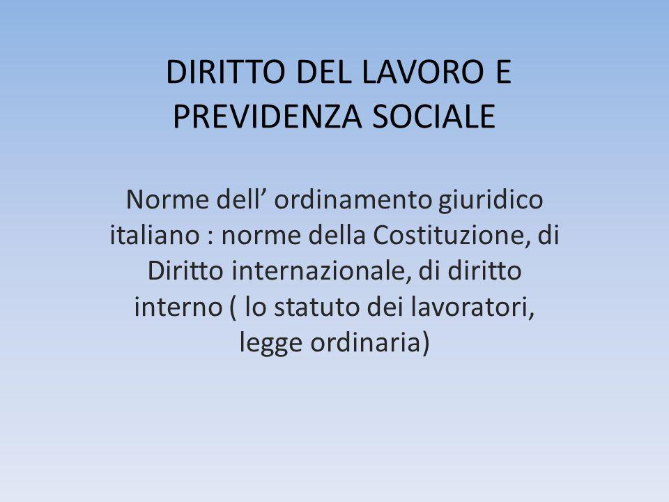 DIRITTO DEL LAVORO E PREVIDENZA SOCIALE Norme dell ordinamento giuridico italiano : norme della Costituzione, di Diritto internazionale, di diritto interno ( lo statuto dei lavoratori, legge ordinaria)
