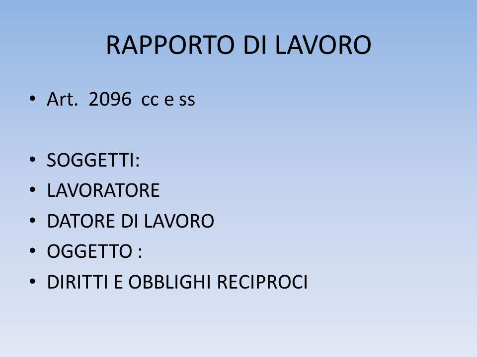 RAPPORTO DI LAVORO Art.