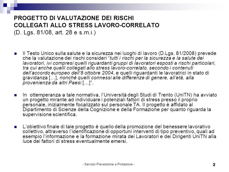 2 PROGETTO DI VALUTAZIONE DEI RISCHI COLLEGATI ALLO STRESS LAVORO-CORRELATO (D.