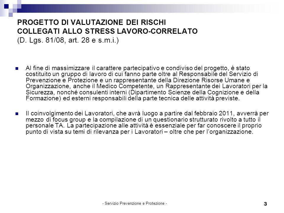 3 PROGETTO DI VALUTAZIONE DEI RISCHI COLLEGATI ALLO STRESS LAVORO-CORRELATO (D.