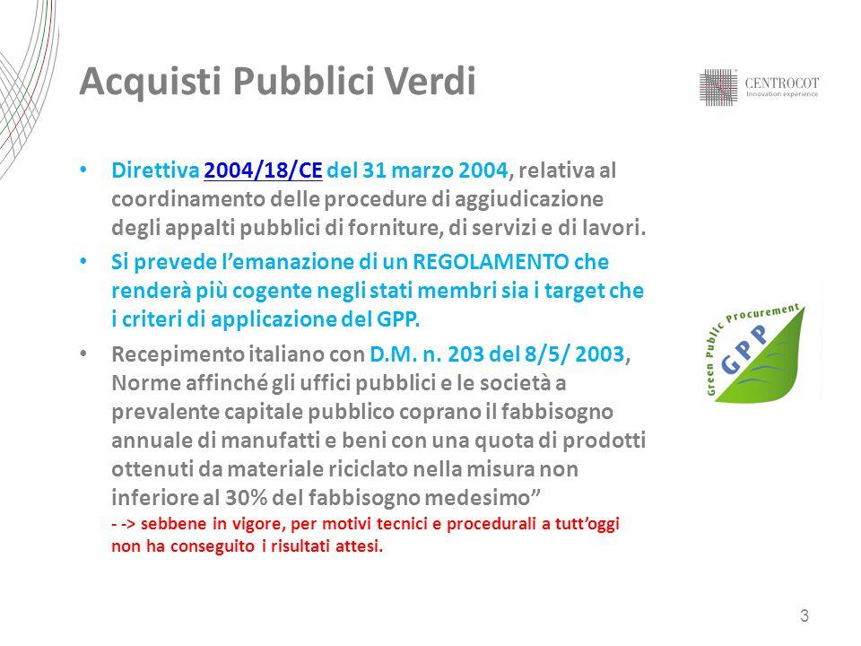 UNI EN ISO 14001 95 aziende tessili italiane certificate Fonte: Accredia (mar 2012) REQUISITI DI SISTEMA Regolamento EMAS III 1.140 aziende italiane certificate REQUISITI DI SISTEMA REQUISITI DI PROCESSO OEKO TEX STANDARD 1000 Certificata 1 azienda tessile italiana REQUISITI DI SISTEMA REQUISITI DI PROCESSO REQUISITI DI PRODOTTO (ALMENO IL 30% DI PRODOTTI DEVONO ESSERE CERTIFICATO OEKO 100) Le principali certificazioni volontarie ambientali