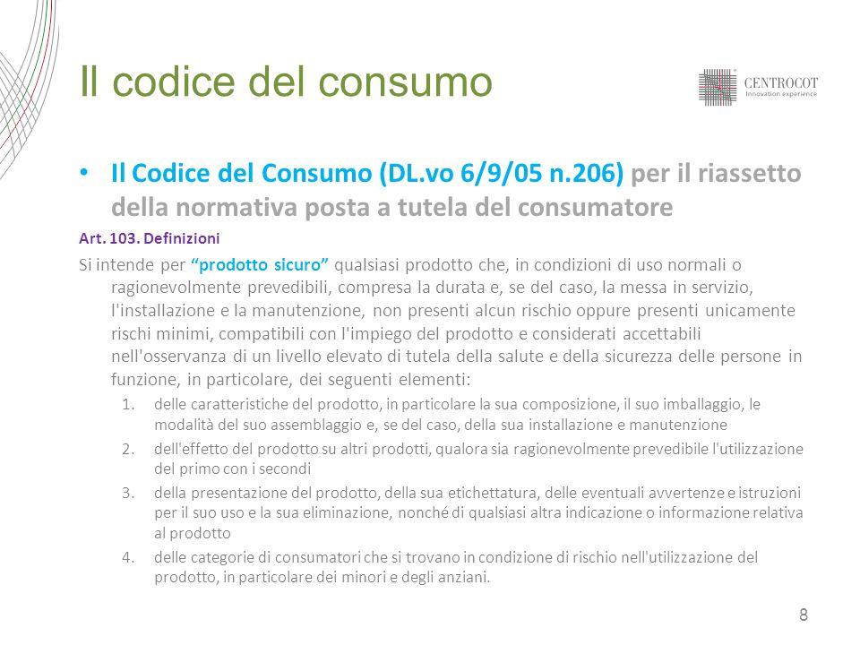 Il codice del consumo Art.104.Obblighi del produttore e del distributore 1.Il produttore immette sul mercato solo prodotti sicuri.