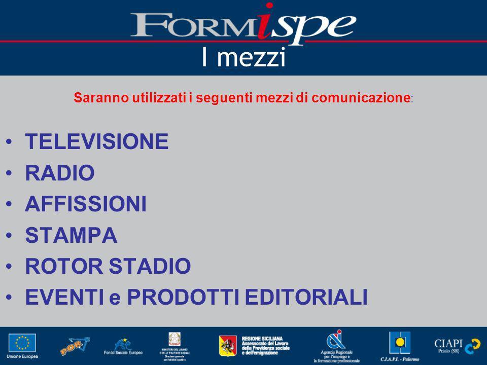 I mezzi Saranno utilizzati i seguenti mezzi di comunicazione : TELEVISIONE RADIO AFFISSIONI STAMPA ROTOR STADIO EVENTI e PRODOTTI EDITORIALI