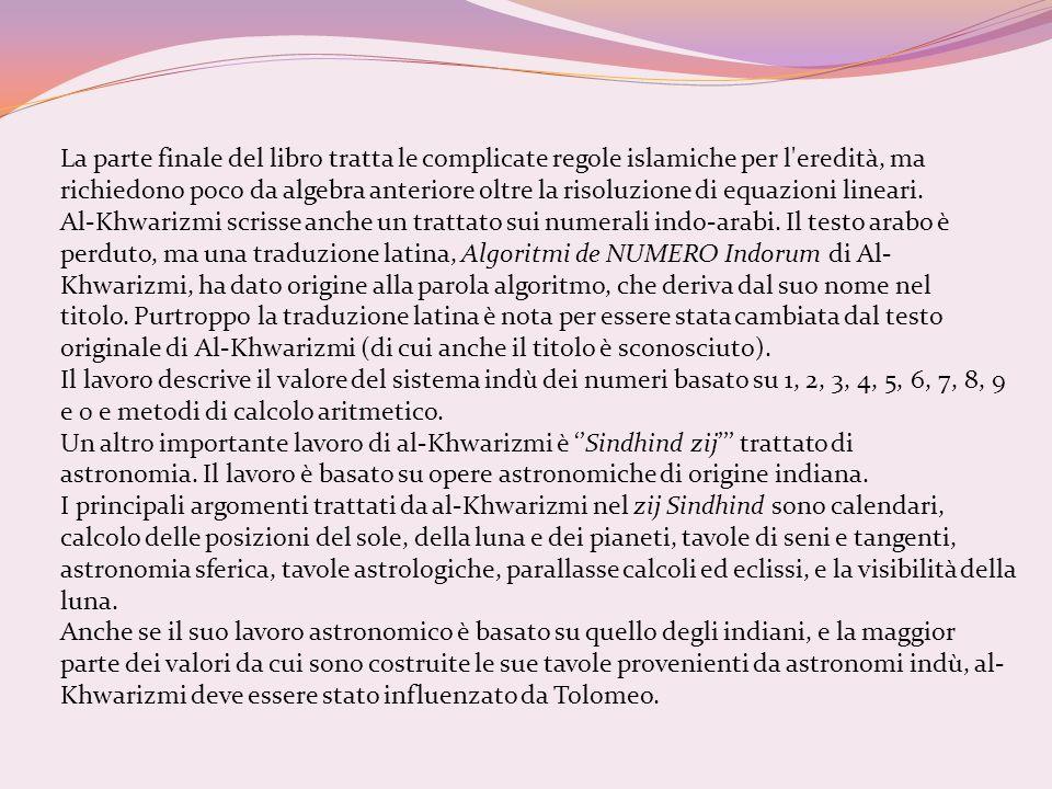 La parte finale del libro tratta le complicate regole islamiche per l'eredità, ma richiedono poco da algebra anteriore oltre la risoluzione di equazio