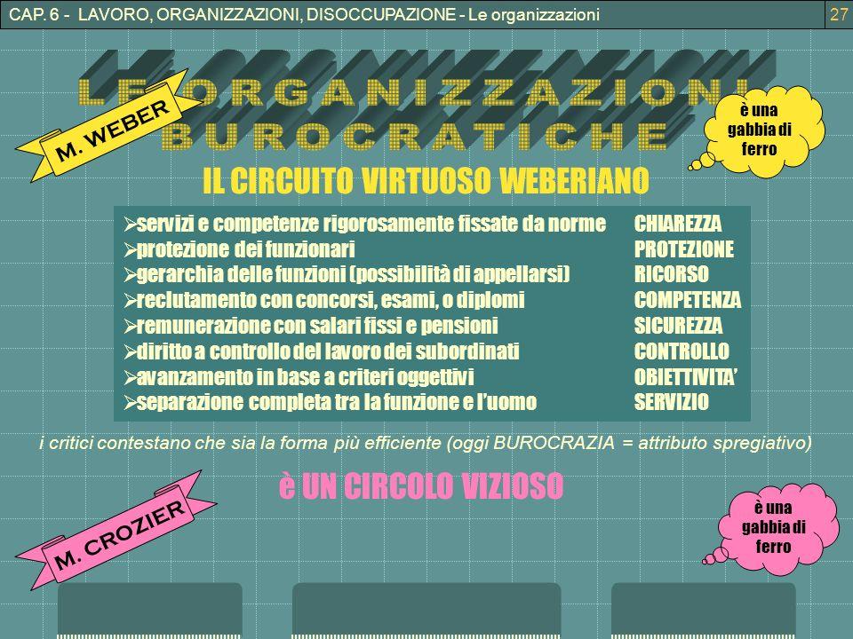 3CAP. 6 - LAVORO, ORGANIZZAZIONI, DISOCCUPAZIONE - Le organizzazioni27 M.