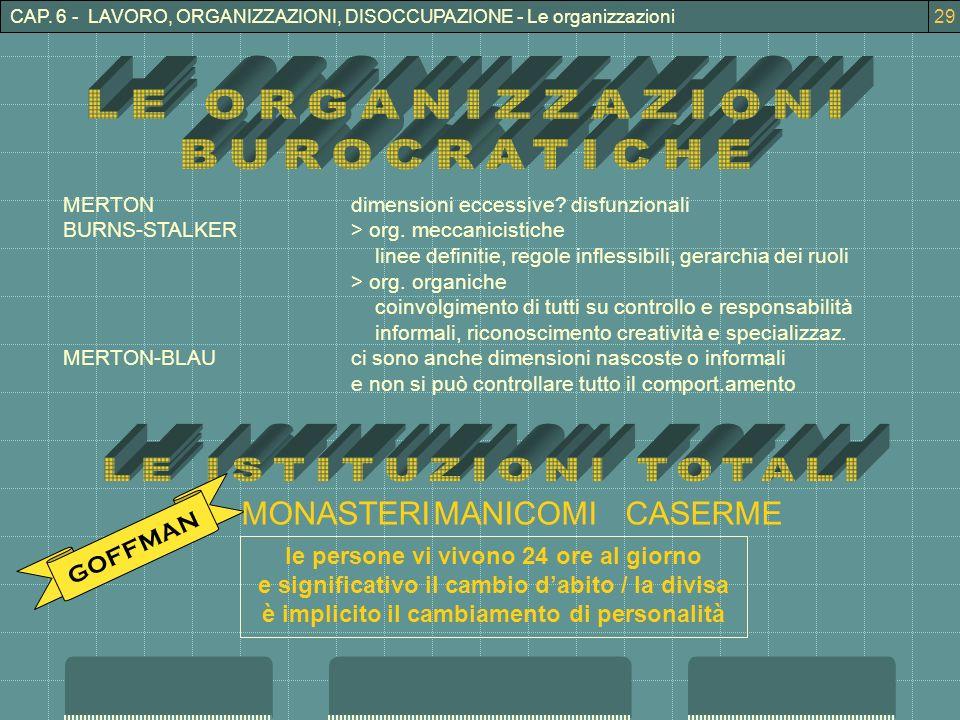 3CAP. 6 - LAVORO, ORGANIZZAZIONI, DISOCCUPAZIONE - Le organizzazioni29 MERTONdimensioni eccessive.