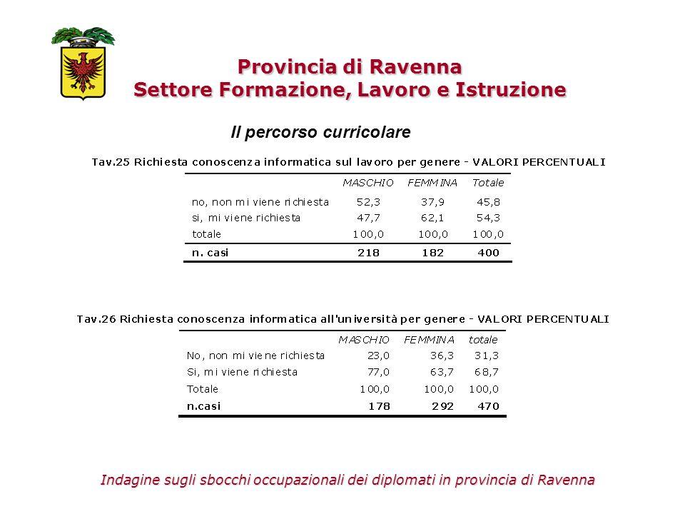 Provincia di Ravenna Settore Formazione, Lavoro e Istruzione Il percorso curricolare Indagine sugli sbocchi occupazionali dei diplomati in provincia d