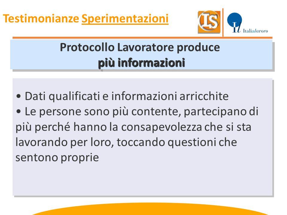 Protocollo Lavoratore produce più informazioni Protocollo Lavoratore produce più informazioni Dati qualificati e informazioni arricchite Le persone so
