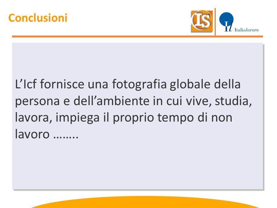 LIcf fornisce una fotografia globale della persona e dellambiente in cui vive, studia, lavora, impiega il proprio tempo di non lavoro …….. Conclusioni
