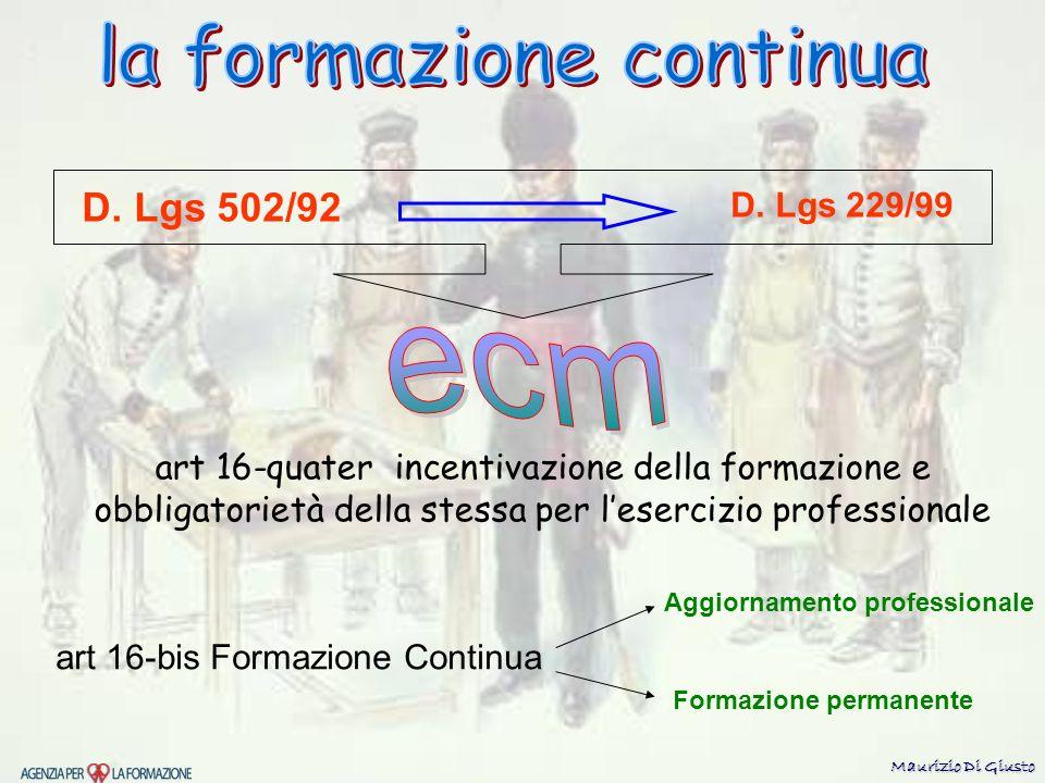 D. Lgs 502/92 art 16-bis Formazione Continua Aggiornamento professionale Formazione permanente art 16-quater incentivazione della formazione e obbliga