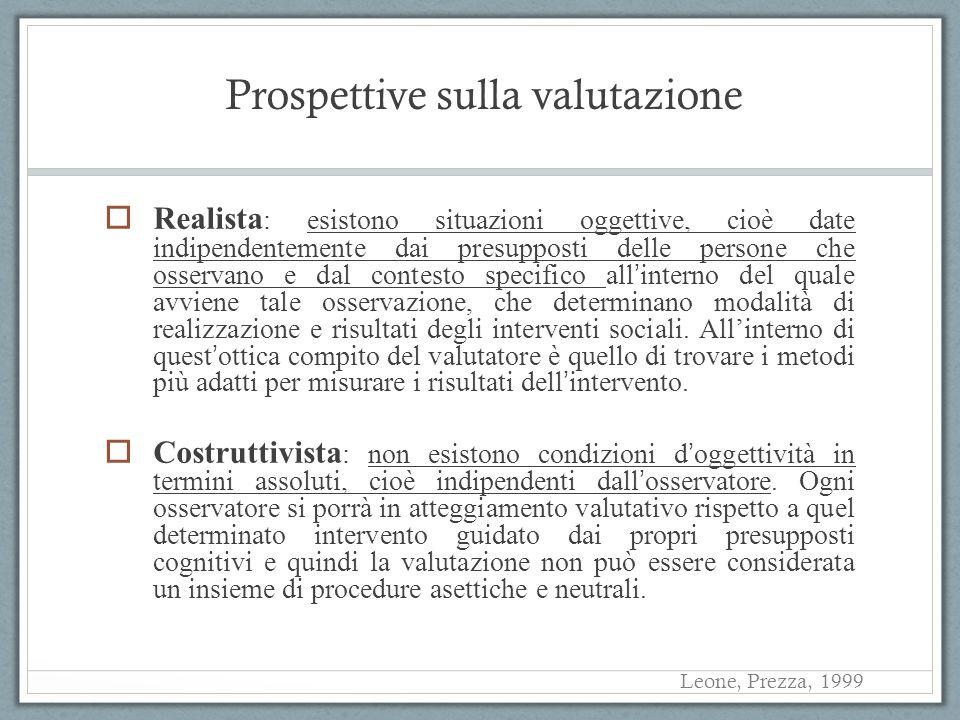 Prospettive sulla valutazione Realista : esistono situazioni oggettive, cioè date indipendentemente dai presupposti delle persone che osservano e dal