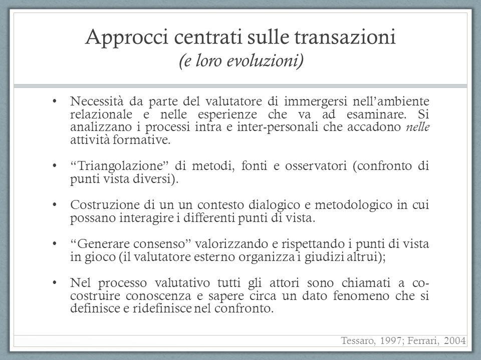 Approcci centrati sulle transazioni (e loro evoluzioni) Necessità da parte del valutatore di immergersi nellambiente relazionale e nelle esperienze ch