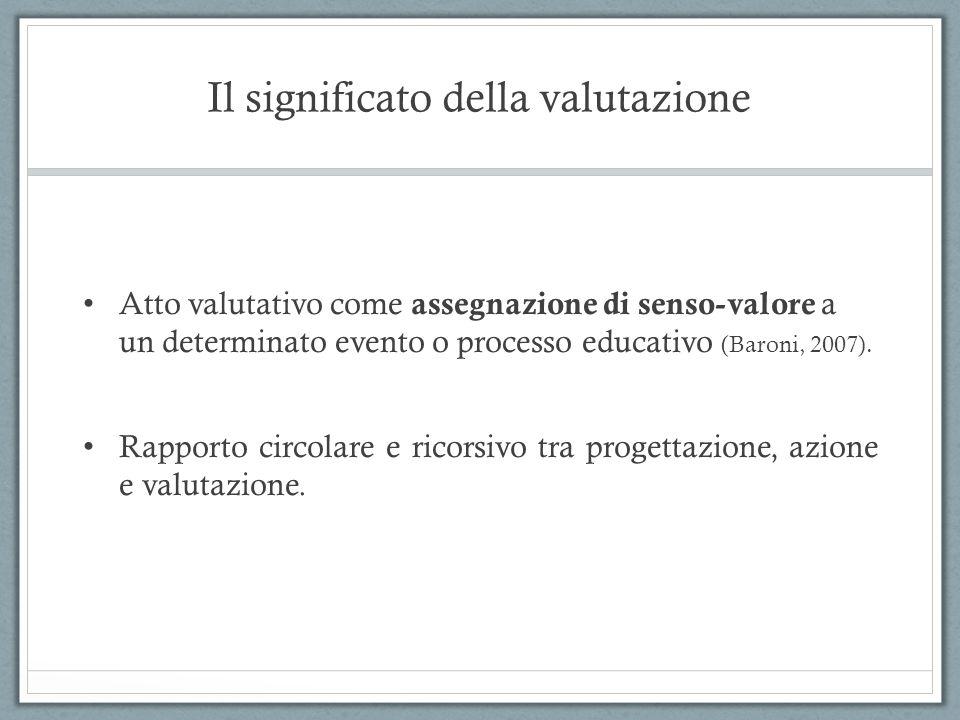 Il significato della valutazione Atto valutativo come assegnazione di senso-valore a un determinato evento o processo educativo (Baroni, 2007). Rappor