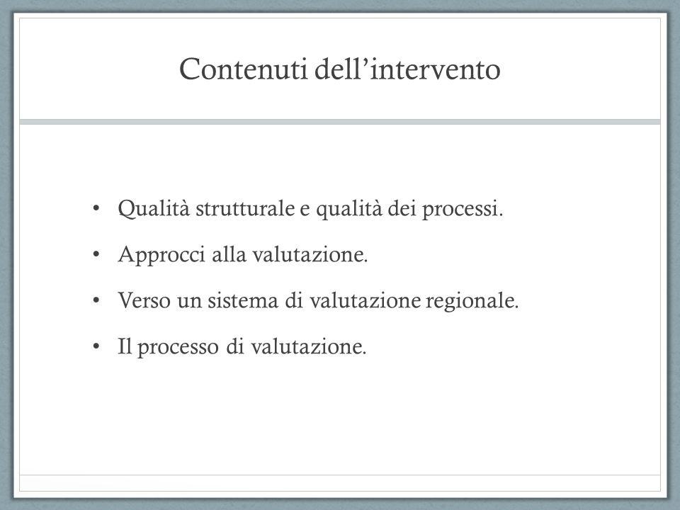 Contenuti dellintervento Qualità strutturale e qualità dei processi. Approcci alla valutazione. Verso un sistema di valutazione regionale. Il processo