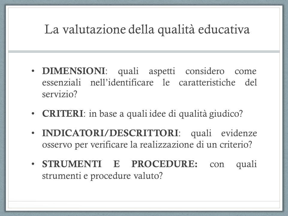 La valutazione della qualità educativa DIMENSIONI : quali aspetti considero come essenziali nellidentificare le caratteristiche del servizio? CRITERI