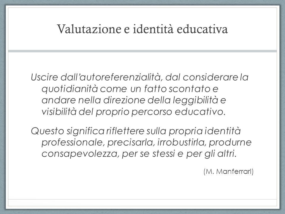 Valutazione e identità educativa Uscire dall autoreferenzialità, dal considerare la quotidianità come un fatto scontato e andare nella direzione della