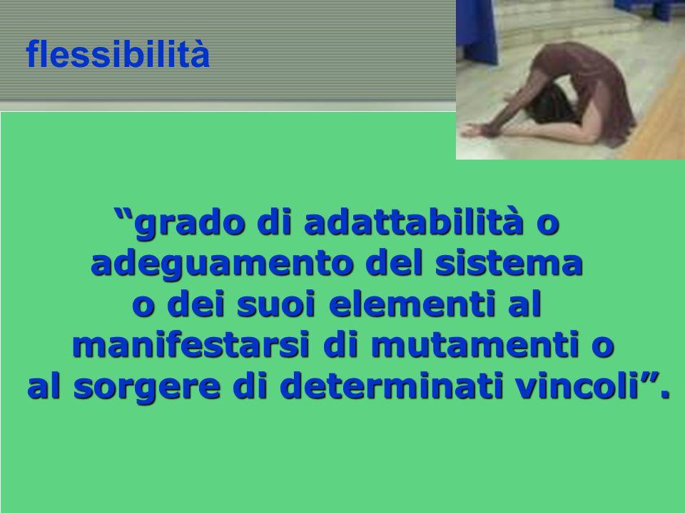 flessibilità grado di adattabilità o adeguamento del sistema o dei suoi elementi al manifestarsi di mutamenti o al sorgere di determinati vincoli.