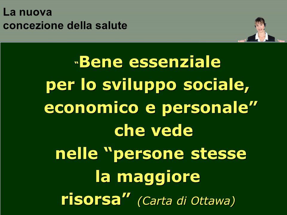 La nuova concezione della salute Bene essenziale Bene essenziale per lo sviluppo sociale, economico e personale che vede che vede nelle persone stesse la maggiore risorsa (Carta di Ottawa)