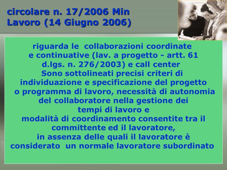 riguarda le collaborazioni coordinate e continuative (lav.